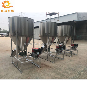 500kg animal feed mixer/diesel engine mixer grinder/stainless steel feed  mixer