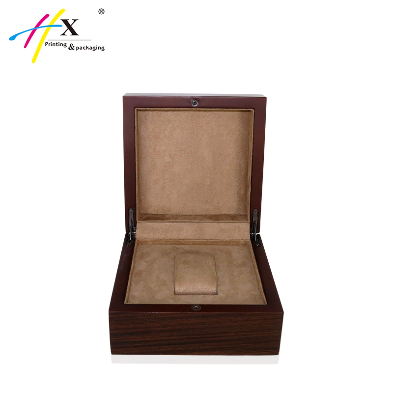 Custom logo brown wooden watch box display case with button lock