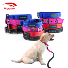 Custom Logo Heavy Duty Nylon Metal Buckle Dog pet Collar With Reflective Stitching