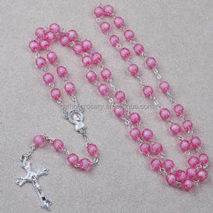8mm pink round faceted plastic bead rosary jewelry