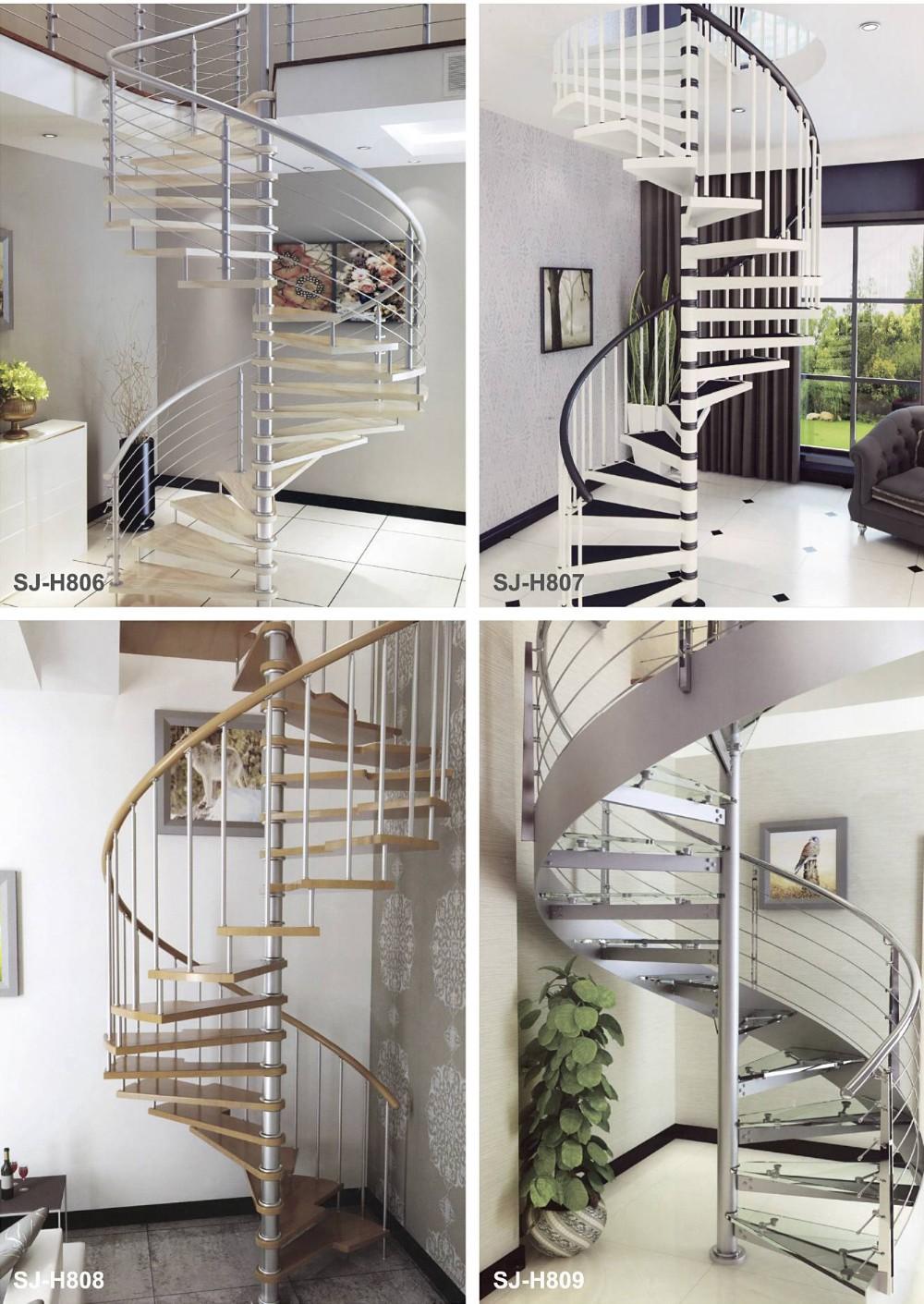 Luxurious Glass Railings Prefabricated Wood Spiral