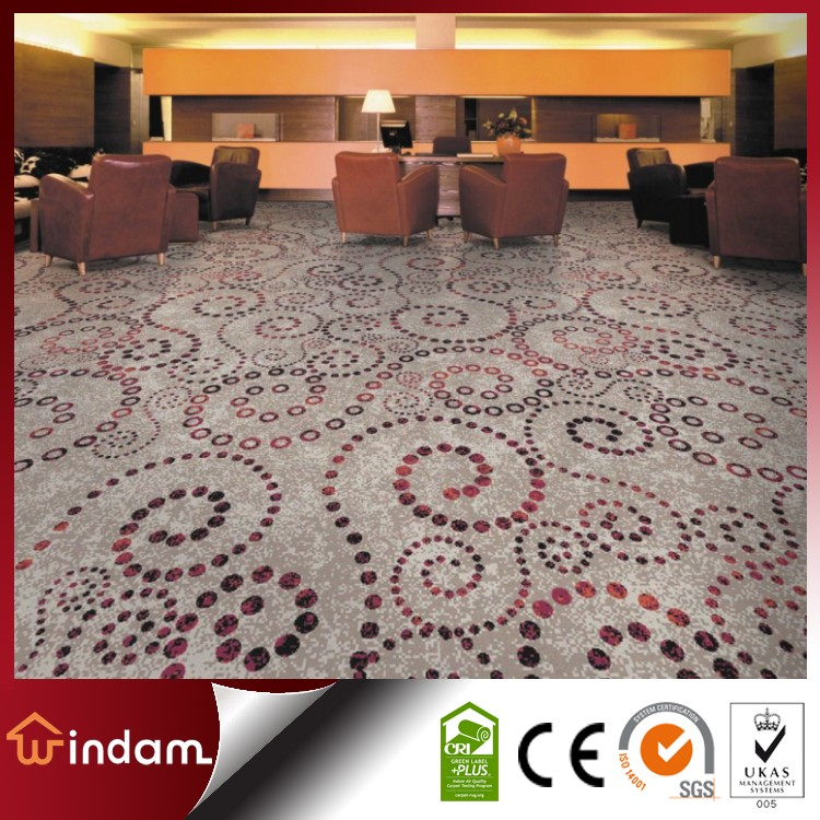 Floral design cut pile nylon printed wall to wall carpet for Floral pattern wall to wall carpet