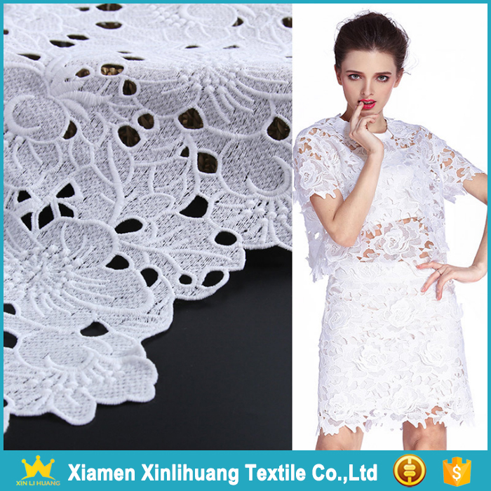 New Product Hollow Out Water Soluble 100 Polyester White Guipure Lace Fabric