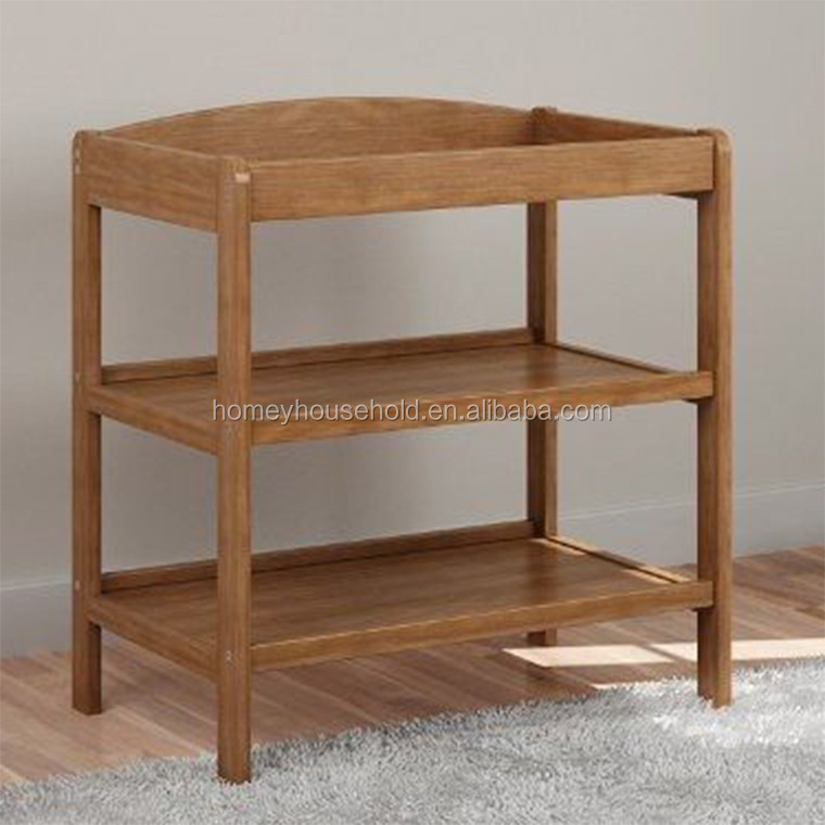 Eco-friendly natural wood nursery furniture baby changing table set
