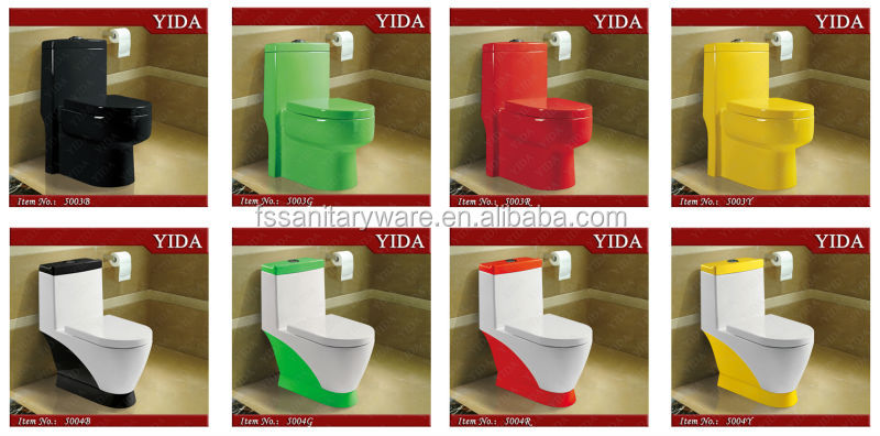 Double Colors Spray Siphonic One Piece WC Toilet, Bathroom Ceramic White/Ivory/Yellow Toilet Bowl, Water Closet