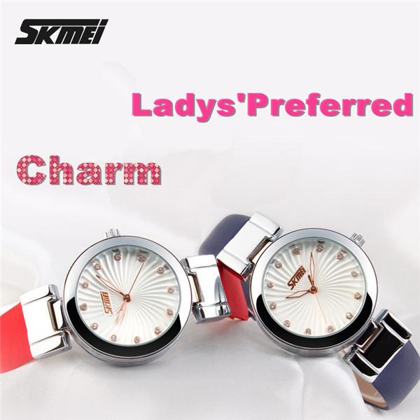Skmei 9086 Water Resistant Quartz Watches 3 Bar Lady Genuine Leather Watch