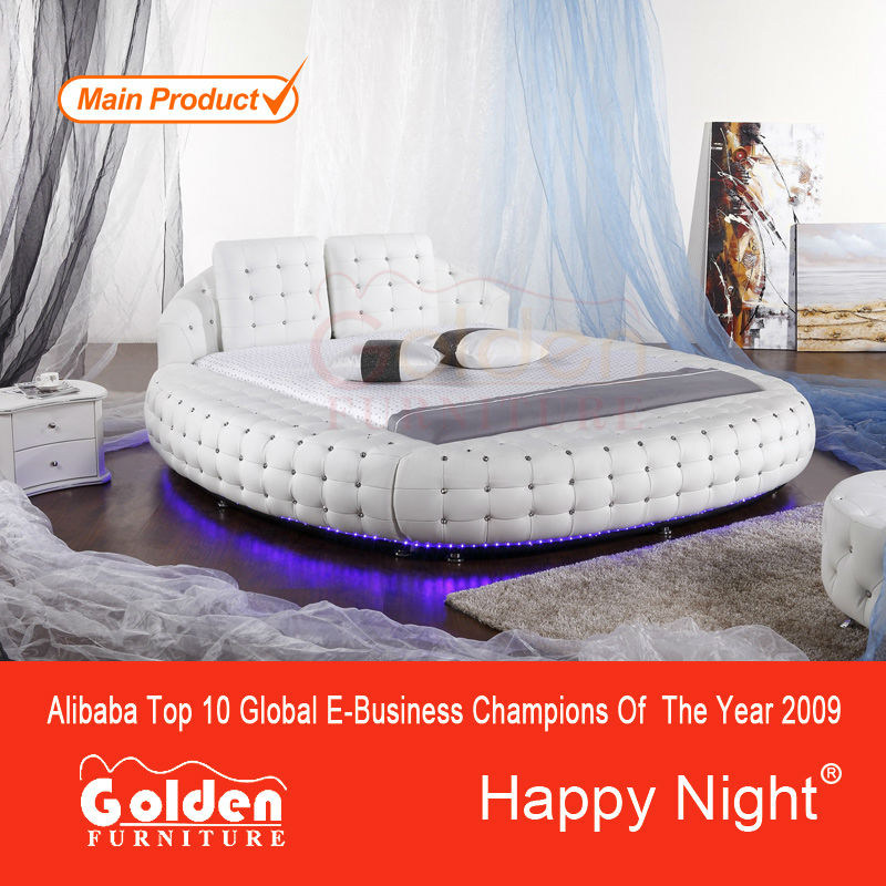 Full White Crystal Tufted Led Light Around Bed Circle Beds Sale ...