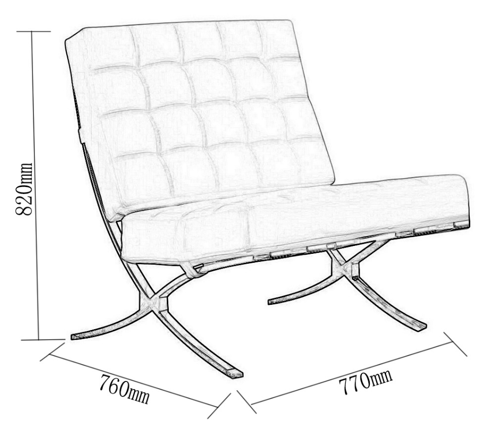 Barcelona Chair White - Modern style lounge pavilion chair leather barcelona chair in cowhide