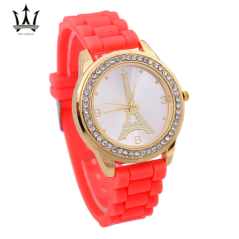 Montres Femmes 2015 Silicone Band Golden Crystal Stone Quartz Women Dress Wristwatch Candy Colors Relojes Mujer