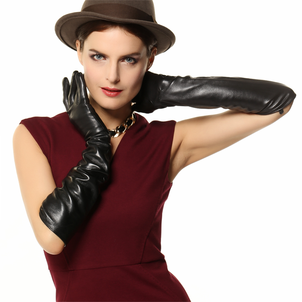 Black leather gloves female - Get Quotations 50cm Long Genuine Leather Gloves Women Opera Black Banquet Sheepskin Leather Gloves Female Leather Driving Gloves