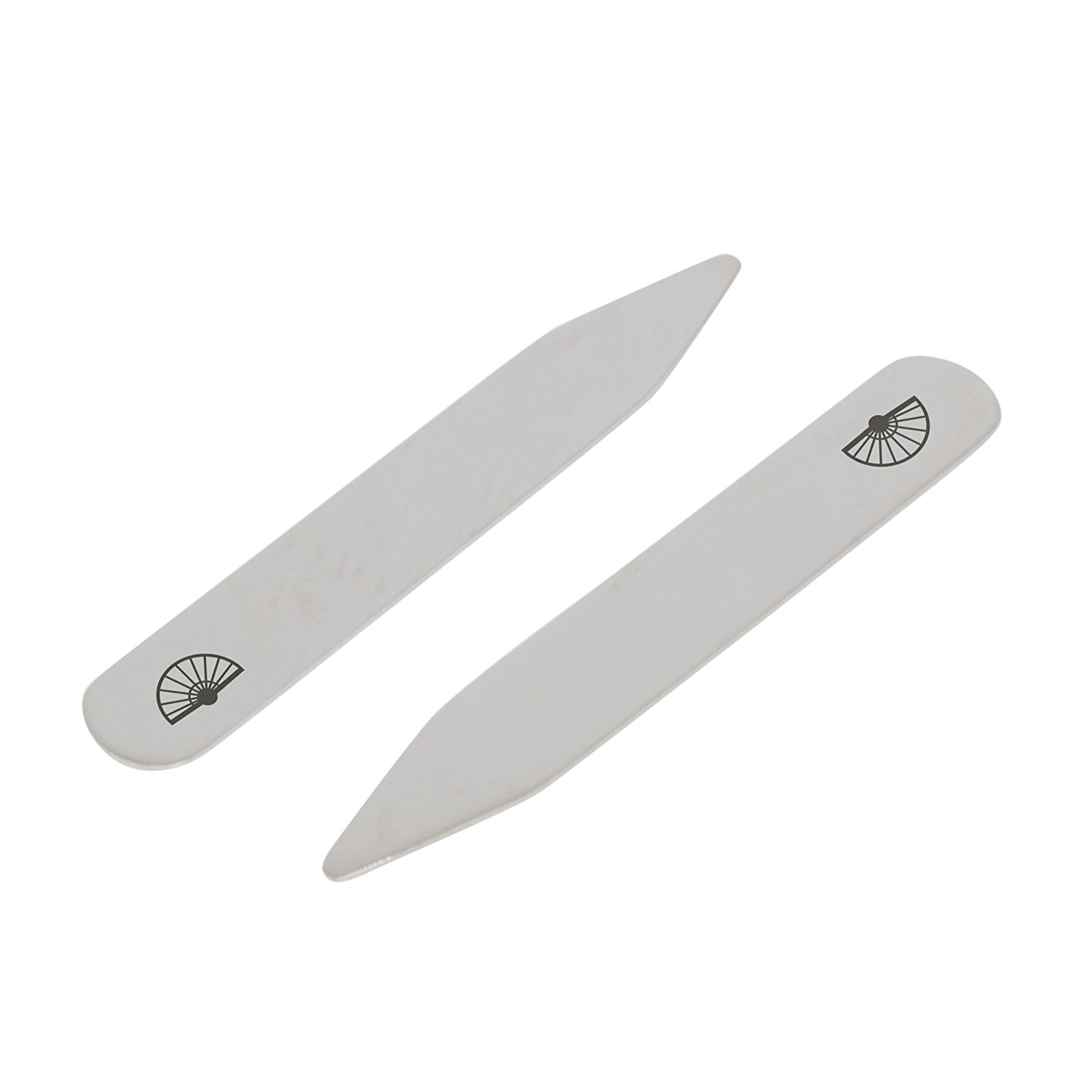 Made In USA MODERN GOODS SHOP Stainless Steel Collar Stays With Laser Engraved Mountain Design 2.5 Inch Metal Collar Stiffeners