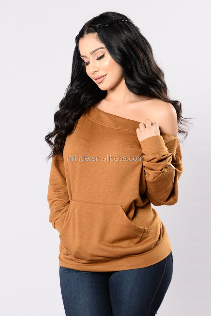 Women Long Sleeve Shirts Front Pocket Off the Shoulder Sweatshirt With Zipper Pocket on Sleeve