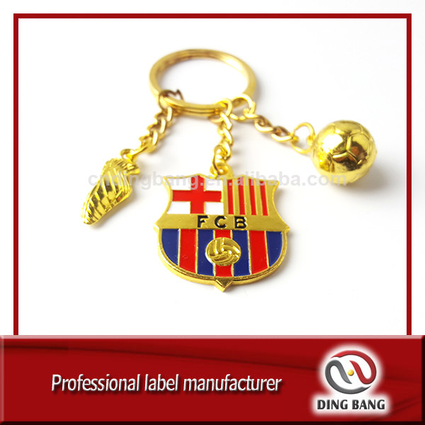 Wholesale Cheap Chain Type And Decoration Use Metal Barcelona Souvenir Custom Football FCB Keychain