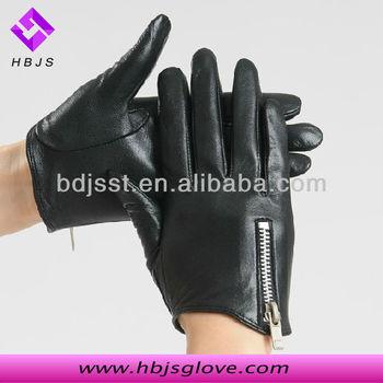 Pas cher mode femmes court noir gants de conduite en cuir avec fermeture à  glissière b9c2013731c