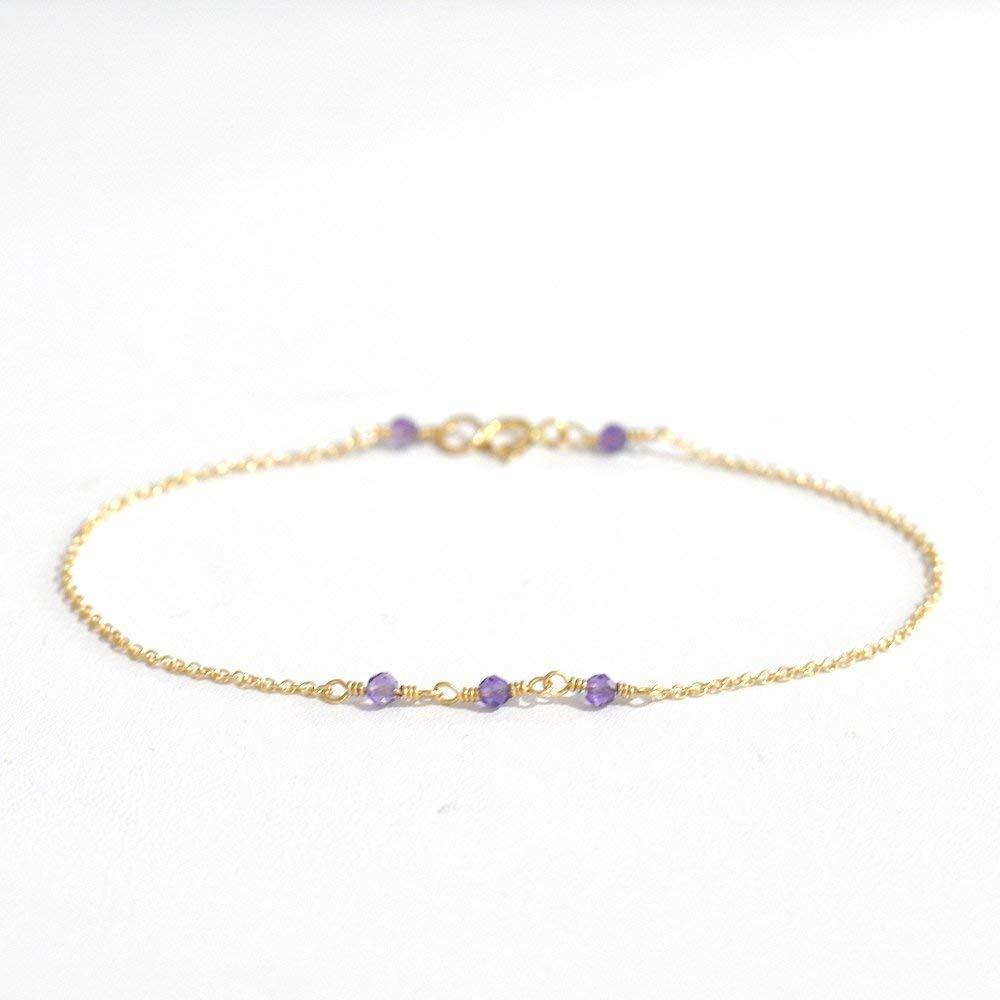 14K Gold. Tiny Amethyst gold bracelet, Delicate gold bracelet, Purple Amethyst bracelet, Minimalist, February Birthstone Jewelry, Layering Bracelet