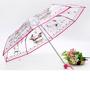 wholesale fashion foldable plastic clear color poe transparent folding umbrella