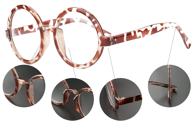 Beison Vintage Round Glasses Frame Inspired Eyeglasses Circle Clear Lens