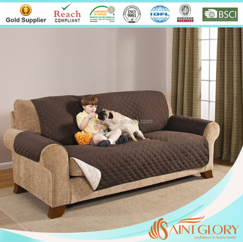 Anti Skid Couch Covers Quilted Microfiber Elastic Sofa Cover Elegant Reversible Furniture Protector
