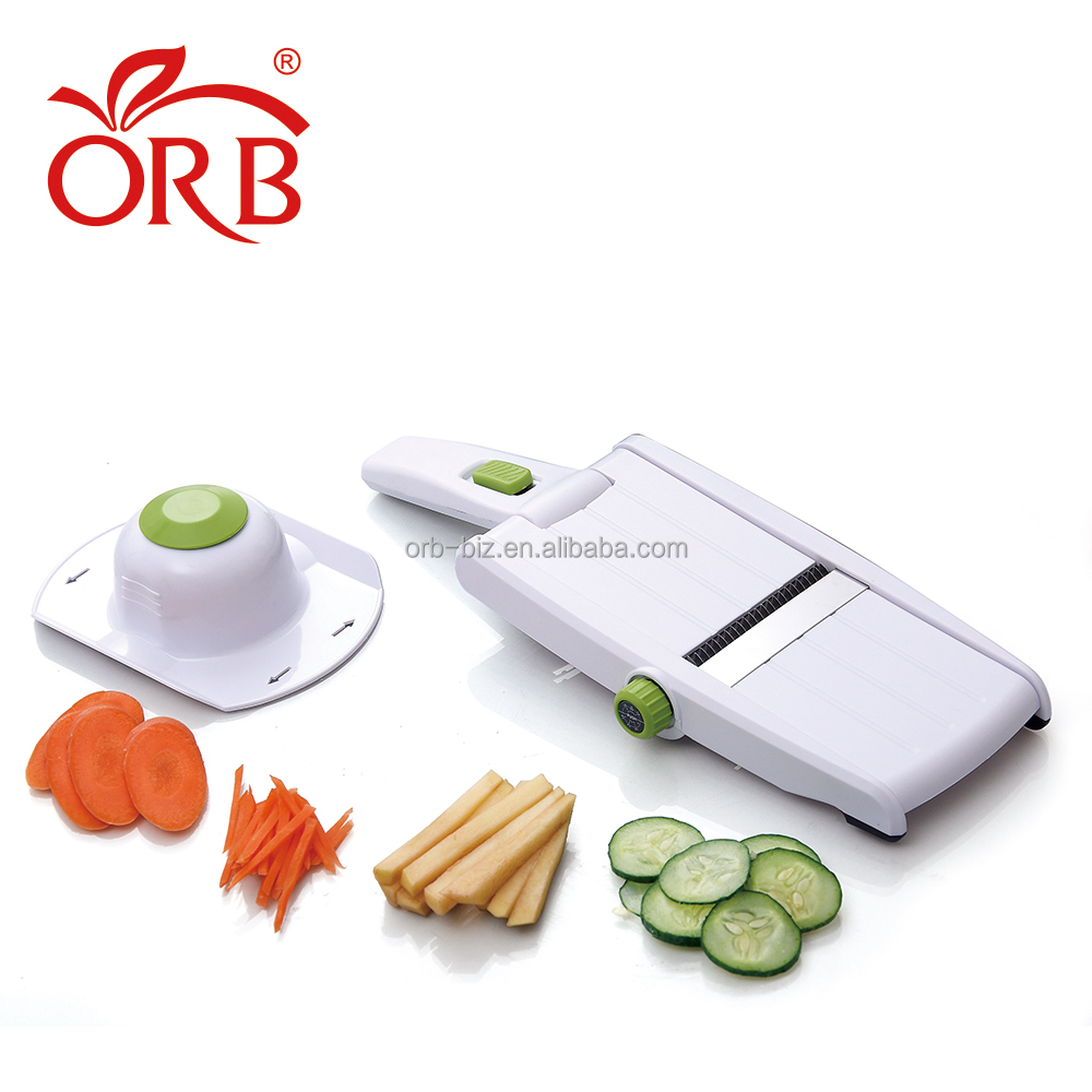 Free Sample Quality Handy Convenient S/S Adjustable Vegetable Carrot Cucumber Slicer Cutter With Food Holder