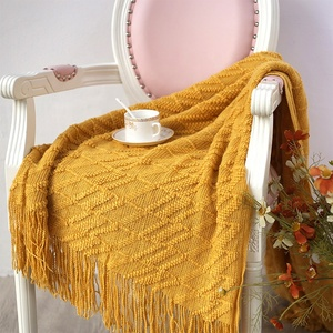 Solid Color Lacework Super Soft Warp Knit Throw Blanket With Tassels