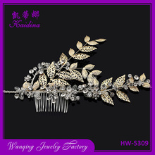 Bridal gold plated leaves hair combs cheapest wedding hollow gold leaf ornamental pearl bridal hair accessories elastic comb