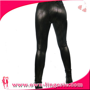high waist black sheer jean leggings for lady