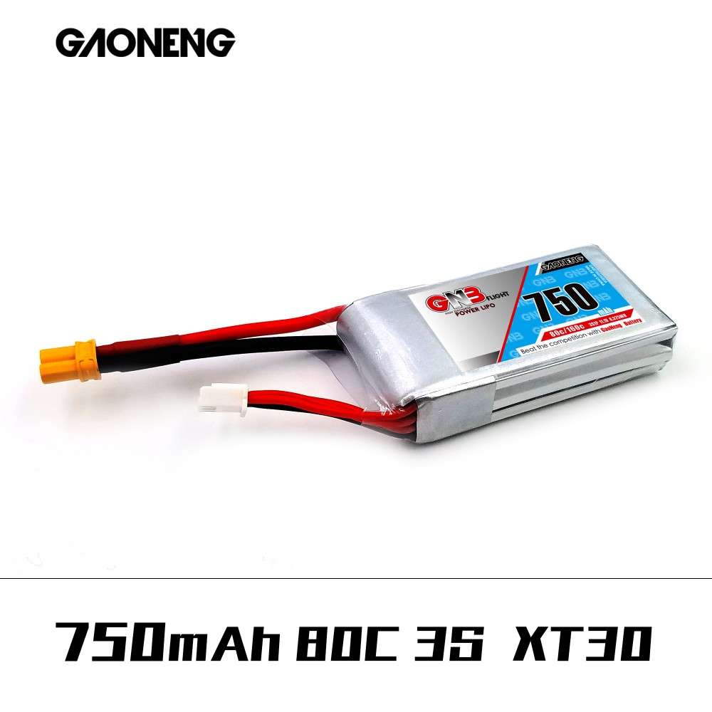 Gaoneng GNB 11.1V 750mAh 80C 3S XT30 Plug Lipo Battery for RC FPV Racing Drone