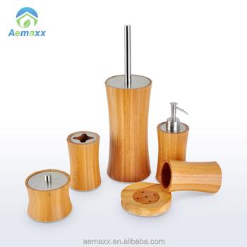 Compleet Bamboe Badkamer Accessoire Set Indluded Zeepdispenser ...