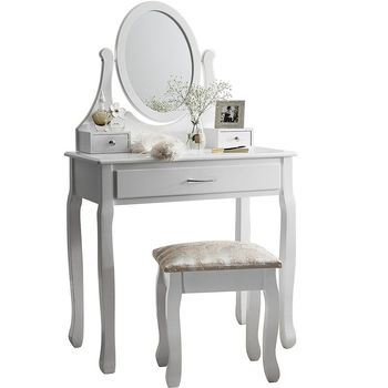 Small Dressing Table White With Stool Mirror 3 Drawer Storage Bedroom Furniture