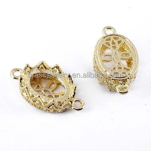 New Hot Gold Plated Gear Bezel Brass Cabochon Settings Jewelry Accessories Findings