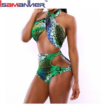 Lady Swimwear Green Snakeskin Pattern Sexy Microkini Open Girl Beach Bikini