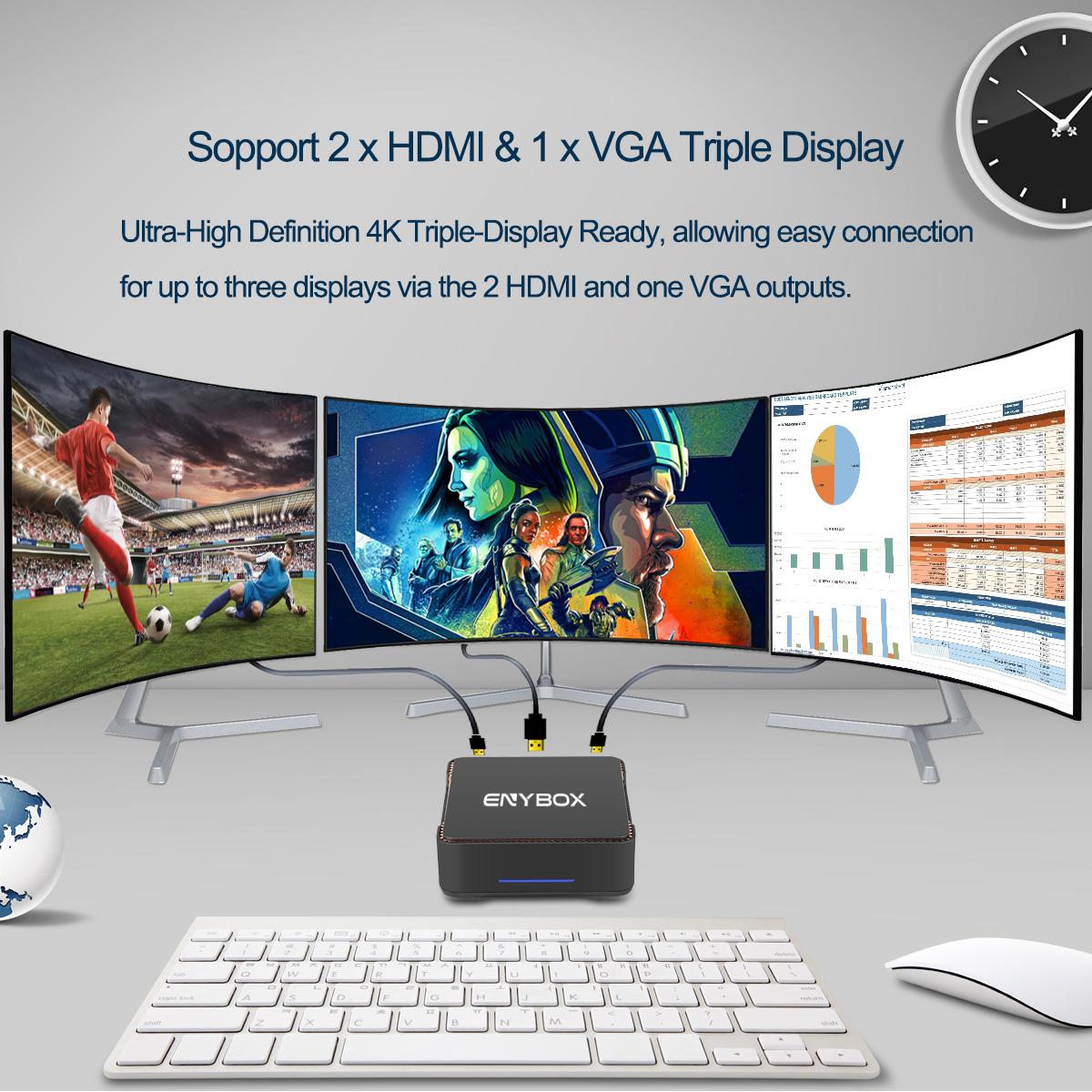 ENYBOX New Released Windows10 Mini PC GK3 Gemini lake J4150 Processor SATAiii 4G RAN 32G ROM 2*HDTV port MINI PC