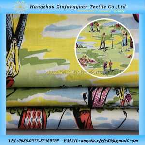 play golf pattern printed cotton voile fabric wholesale