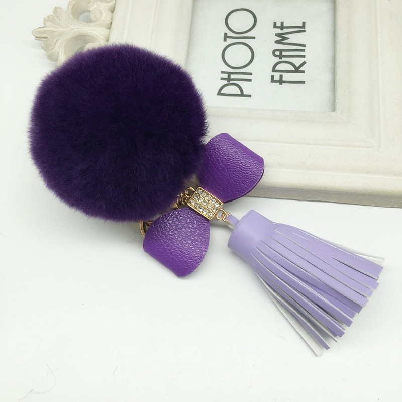 high quality lady bag charms for decorations rex rabbit fur poms with pu leather tassel keychain