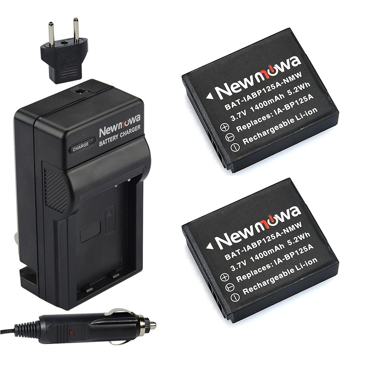 Newmowa IA-BP125A Battery (2-Pack) and Charger kit for Samsung BP125A, IA-BP125A and Samsung HMX-M20, HMX-Q10, HMX-Q11, HMX-Q20, HMX-Q100, HMX-Q130, HMX-QF20, HMX-QF30, HMX-T10