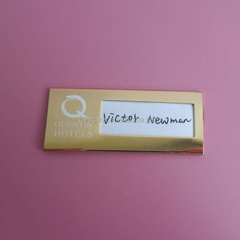 metal high quality brass magnetic name badges personalized reusable