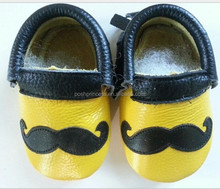 black and yellow handmade mustache Moccasins baby leather shoe