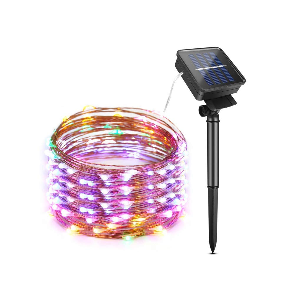 LED Solar String Lights Outdoor, LED Fairy String Lights, AIMENGTE IP65 Waterproof 100 LEDs/200 LEDs 33ft/66ft LED Starry Halloween Light Christmas Night Lamp. (RGB, 200 LEDs/66ft)