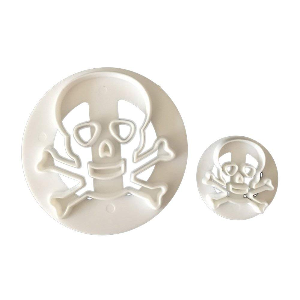 Slendima Creative 2Pcs Eco-friendly Plastic Skull Head Biscuits Cutter, Halloween Party Cookies Mold Pastry Fondant Cake Decorating Supplies - White
