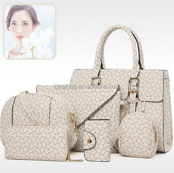 395fb527afe5 2016 Autumn winter Fashion print arrow handbag set 6 pieces woman handbag  shoulder bag for lady