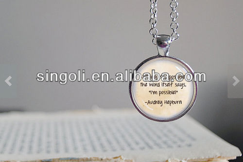 24 inch chain included. Round art round pendant jewelry l.Audrey Hepburn Pendant Necklace.