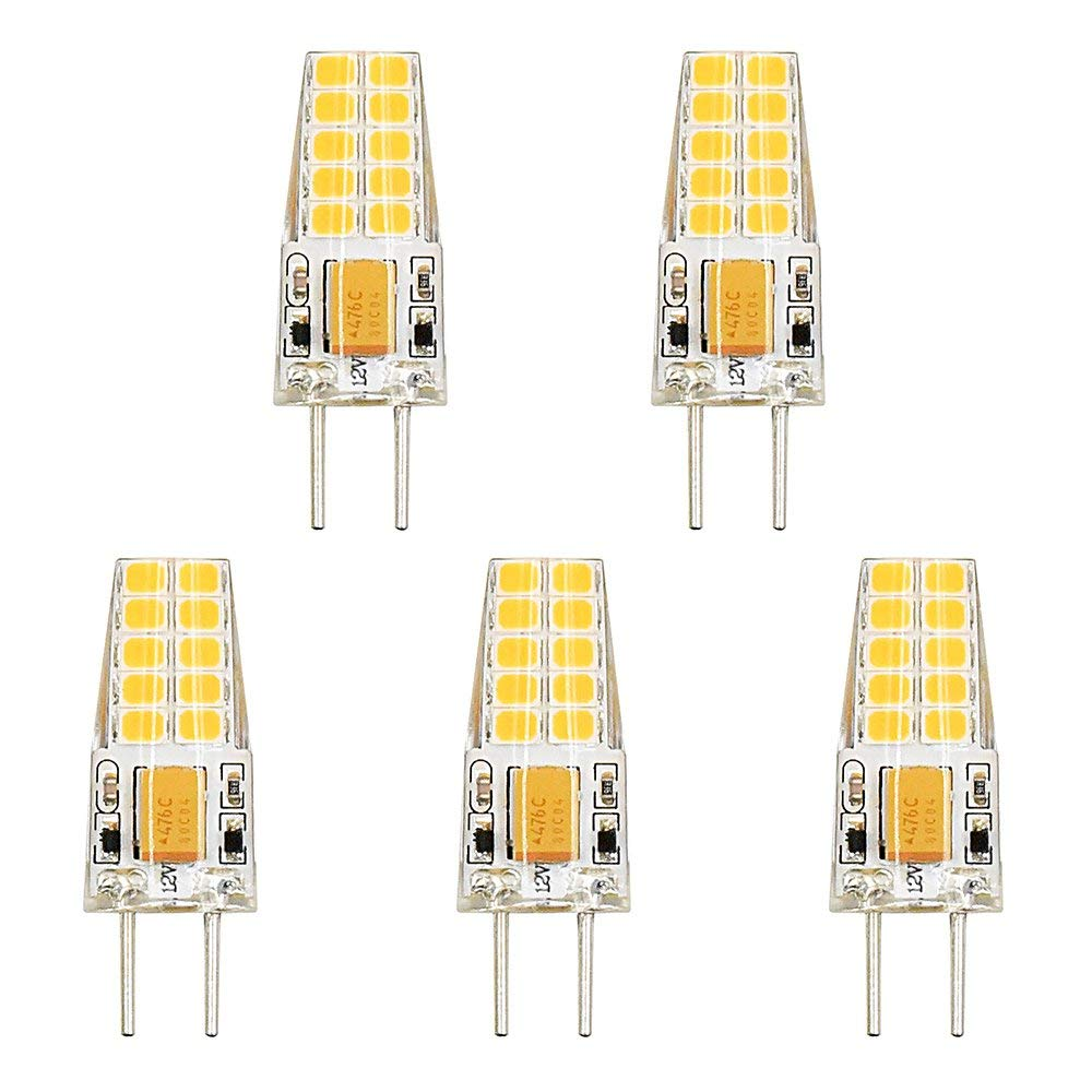 Bonlux 3W LED G6.35 Light Bulb 12 Volt Daylight 6000K GY6.35 Bi-Pin JC Type LED 30W Halogen Replacement Bulb for Under-Cabinet Accent Puck Light Desk Lamp Lighting (Pack of 5)