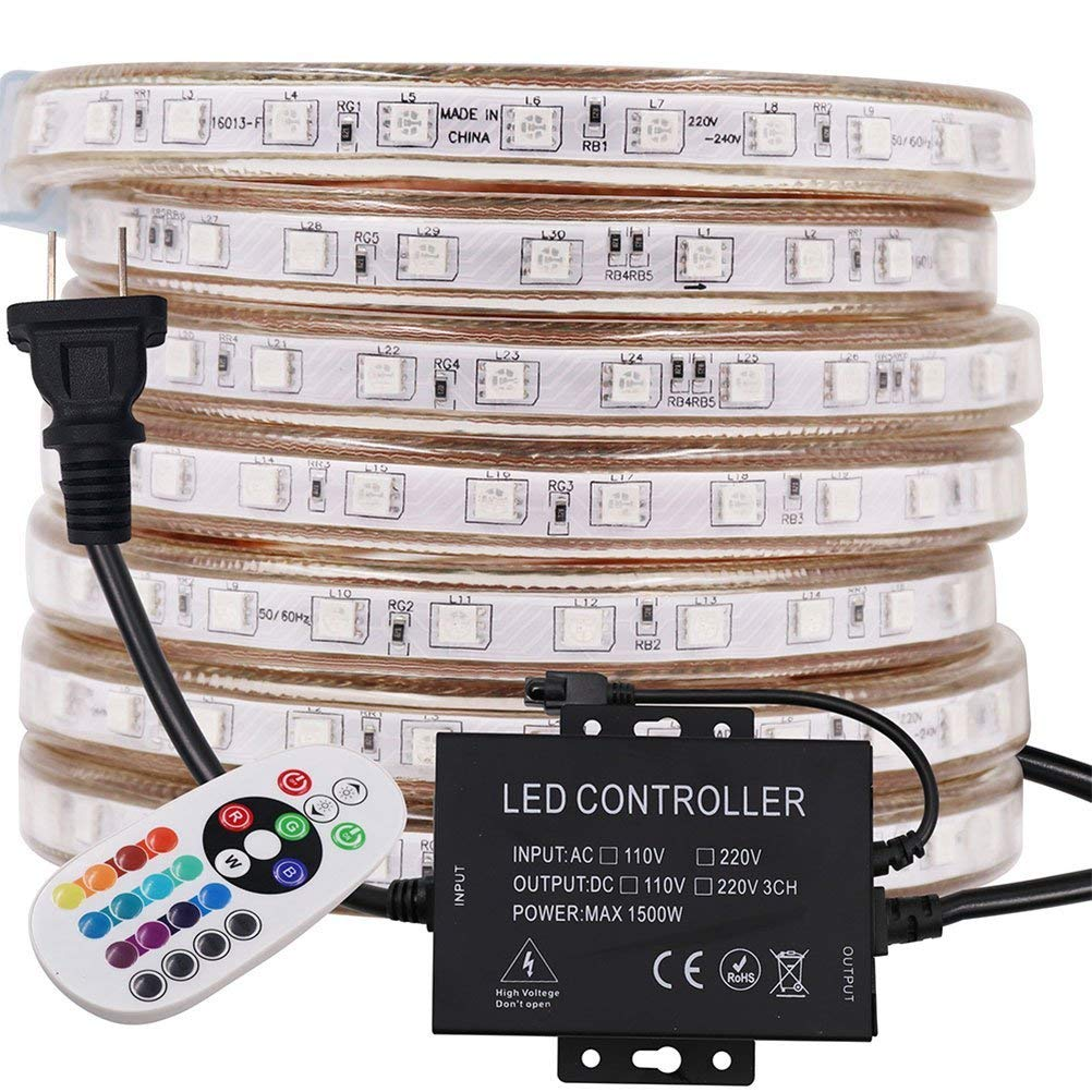 XUNATA 164ft RGB LED Strip Light, AC 110-120V Flexible Waterproof Super Bright Dimmable 60 LEDs/M SMD5050 LED Rope Lights with 1500W 24Key Remote for Home Building Decoration