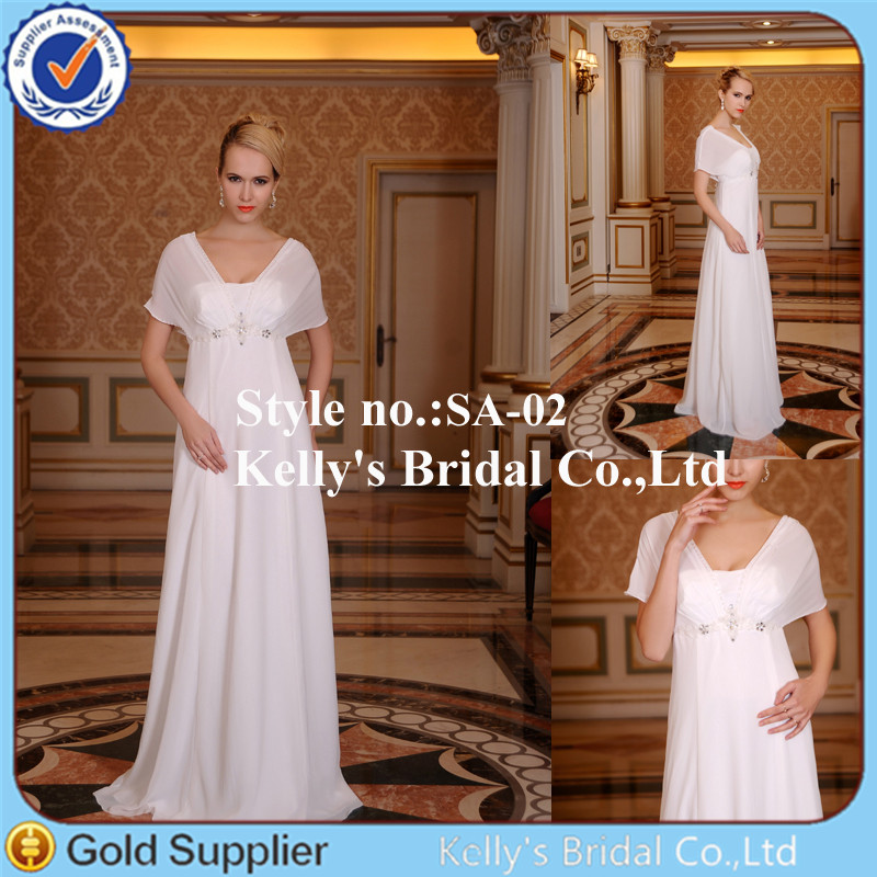 Hot Sales Float Chiffon Sleeves Cheap Wedding Dresses Under 100