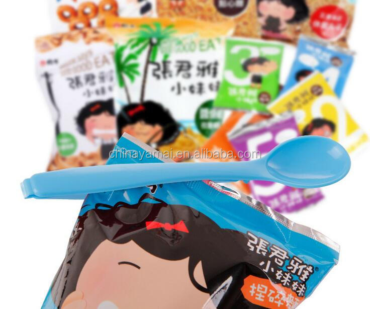 plastic seal food bag clip with spoon