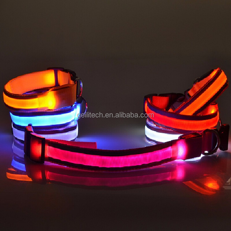 7 Color Optional LED Stripe Reflective Glow Pet Traction On The Rope