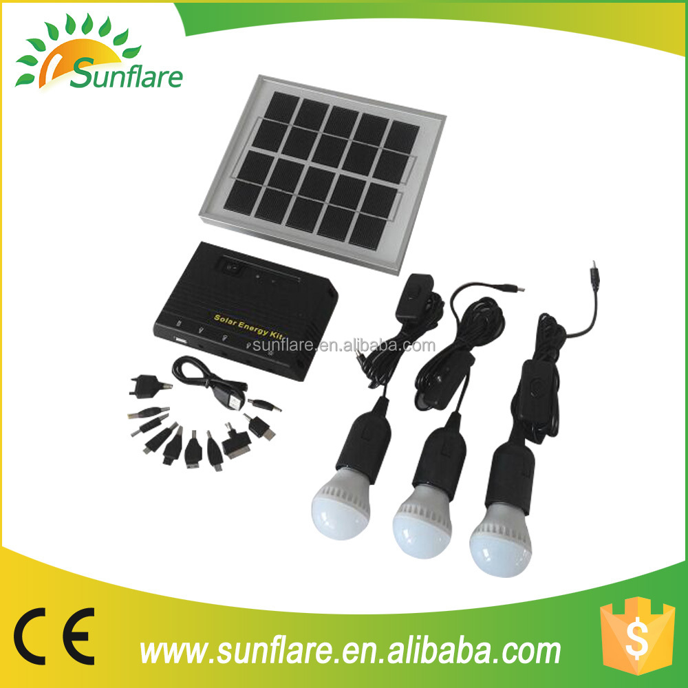 Sunflare portable indoor solar power lamp ,mini solar lantern system, solar lighting kits for home in china