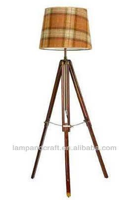 Modern Onyx Lamps Wood Tripod Floor Lamp With Grid Color Shade ...