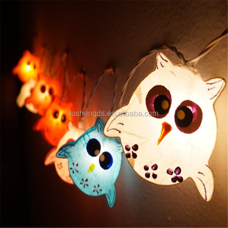 20 Bulbs Handmade Cute Owl Mulberry Paper Lanterns For Patio Wedding Party And Decoration