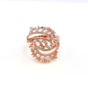 High end women micro pave AAA cz rose gold plated wedding ring